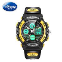 Disney 迪士尼 儿童电子表男学生防水夜光双显运动多功能手表男孩闹钟腕表 315黑黄