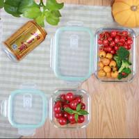 北斗正明耐热玻璃饭盒微波炉保鲜盒密封碗中小女生便当580ML 1060ML套装(2只装)