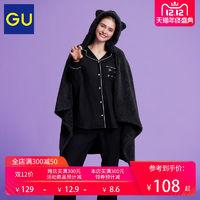 GU 极优 318844 女装珊瑚绒猫耳朵披肩毯