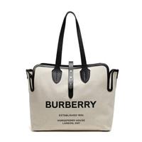 BURBERRY 博柏利 女款米色Horseferry图案织物中号手提单肩包 80103411