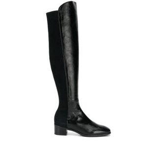 STUART WEITZMAN 斯图尔特·韦茨曼 RESERVE系列女士织物配皮粗跟及膝长靴