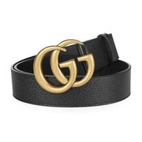 Gucci古馳 GG系列男士黑色皮革做舊顆粒紋凈面雙GG板扣腰帶 406831 DJ20T 1000