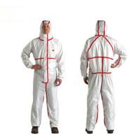 3M 4565白色带帽红色胶条连体防护服XL 1件 防尘液态化学品喷洒 实验室医用工业清洁作业