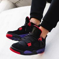 NIKE 耐克 男鞋Air Jordan 4 RETRO AJ4蓝麂皮联名休闲篮球鞋308497-406 AQ3816-056(猛龙紫) 41