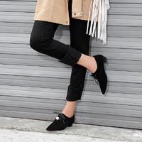 kumikiwa卡米2019秋季新款羊反簡約尖頭中低跟珍珠單鞋女