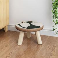 时尚成人蘑菇凳创意小板凳矮凳实木客厅布艺小凳子家用圆凳沙发凳 圆-猫头