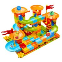 OMKHE 大颗粒儿童滑道积木玩具 202颗粒滑道(带2底板)