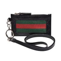 GUCCI 古驰时尚双G压纹红绿织带装饰长款手提带钱包 *2件