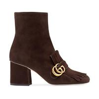 GUCCI 古驰 女士双G标志绒面流苏中跟及踝靴