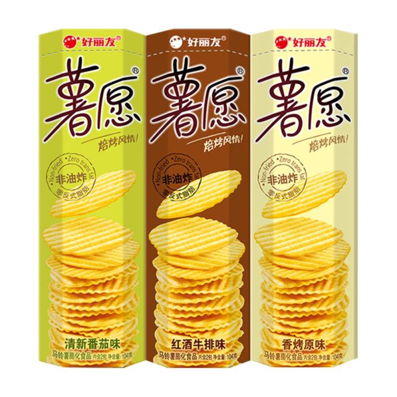 Orion 好丽友 薯愿 薯片 三连包 104g*3盒(清新番茄味、红酒牛排味、香烤原味)