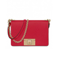 FURLA 芙拉 MIMI'系列女士皮质搭扣链条斜挎包1031805 宝石红小包 *2件