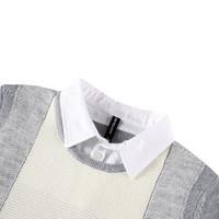 真维斯男装 冬装 混羊毛可机洗假两件长袖毛衣