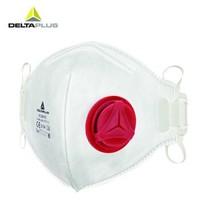 代尔塔 N95防PM2.5带呼吸阀口罩 耳带型  防尘防雾霾防油漆防护口罩 小红(10只盒装)FFP3成人用 *6件