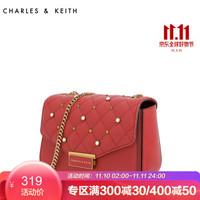 CHARLES&KEITH小方包CK2-80780500法式风情菱格珍珠装饰单肩包手提包 红色