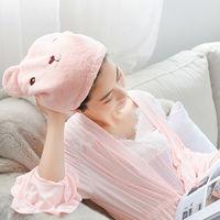 卡通小熊吸水干发帽 蓝色/粉色