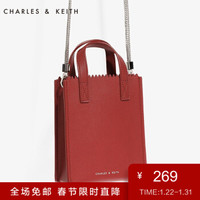 CHARLES&KEITH 手提包 CK2-80270034 摩登迷你锯齿装饰单肩包 Red红色 S