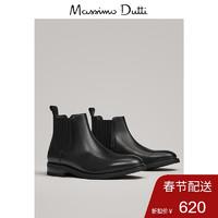Massimo Dutti 16016022800 男鞋 黑色真皮弹性切尔西短靴