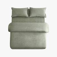 当当优品 纯棉日式水洗磨毛四件套 双人1.5米床 灰绿