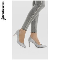 Stradivarius 19152570092 女士婚鞋银色尖头高跟鞋单鞋