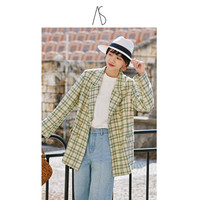 ANNSUU绿色格子西装外套女2020新款韩式简约外套气质上衣绿格纹西装外 绿色 M