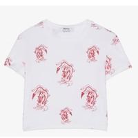 Bershka 02454033256 女士白色印花短袖T恤