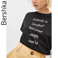 Bershka 巴适卡 07240231800 女士字母印花短袖T恤