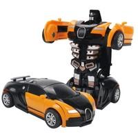 儿童小镇 机器人变形车 布加迪 颜色随机