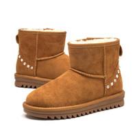 红蜻蜓女鞋 雪地靴女鞋季新款棉鞋女平底短筒靴加绒加厚百搭靴子 WTC80341/43/45 土黄色 37