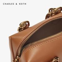 CHARLES&KEITH女包 CK2-80150894 金属链饰女士手提单肩包 CARAMEL焦糖色 S