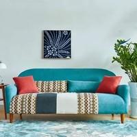 TIMI 天米 布艺沙发组合  双人沙发 湖蓝色