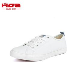 HOZ后街帆布鞋男女情侣款平底低帮板鞋韩版系带休闲鞋 白色-男款 39