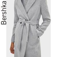 Bershka女士2019秋冬新款灰色修身简约系腰带毛呢外套06443310812