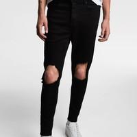 ZARA  04060300800 男子破洞装饰修身小脚牛仔裤