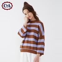 C&A不对称宽松圆领套头九分袖条纹毛针织衫女2019冬CA200222401-2 *2件