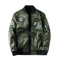 木林森飞行员夹克男韩版刺绣棒球服薄款军装两面穿外套9988