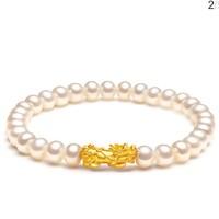 夢金園 3D硬金貔貅足金珍珠手串 單只貔貅