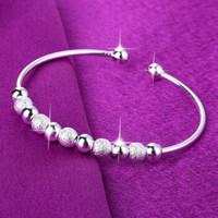 欧洛西银手镯女款开口光砂珠电镀925银爱心九转运珠手环 九转运珠手镯