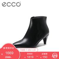 ECCO爱步短靴 优雅尖头拉链细跟皮鞋女 型塑263863 黑色26386301001 35