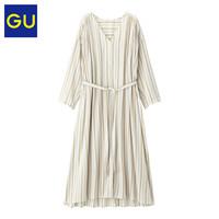 GU极优女装条纹V领长衫(7分袖)前排扣森系长款衬衫女320360