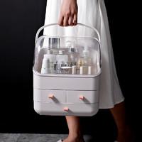 519化妆品收纳盒宿舍桌面防尘简约家用整理箱梳妆台护肤品置物架