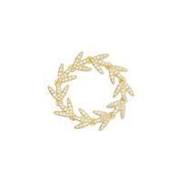 apm MONACO 金色纯银晶钻月桂叶戒指 A18622OXY-52