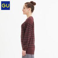 GU极优女装SOFT RICH柔软条纹针织长衫秋冬新款打底毛衣318669