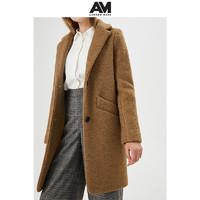 ANDREWMARC2019冬新款女士单排扣纯色修身中长款羊毛呢大衣外套女