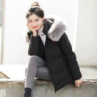 高梵羽绒服女中长款大毛领2019新款潮流学生保暖冬季时尚简约外套