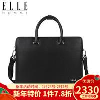 ELLE HOMME商务公文包男士手提包专柜新款头层牛皮单肩包大容量Z 黑色EA768205711 *2件