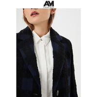 ANDREWMARC2019冬季新款女士中长款圈圈羊毛毛呢外套复古格子大衣