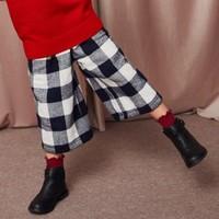 迷你巴拉巴拉女童格子阔腿裤冬新款休闲裤童装保暖儿童加厚长裤子