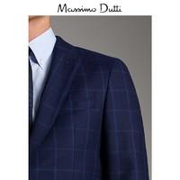 Massimo Dutti 02083159401 男装 海军蓝格纹羊毛西装外套
