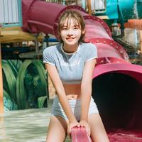 小桃泳衣女韩国2018新款保守遮肉学生分体裙式三件套短袖温泉泳装