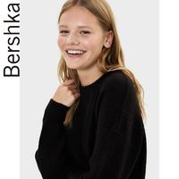 Bershka女士 2019秋季新款黑色氣質簡約圓領毛針織衫 07007623800